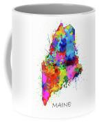 Maine Map Color Splatter Coffee Mug