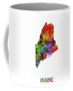 Maine Map Watercolor Coffee Mug