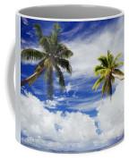 Majuro Atoll, Two Coconut Trees Lean Over Coffee Mug
