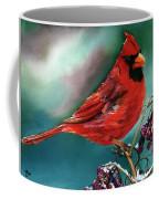 Male Cardinal And Snowy Cherries Coffee Mug