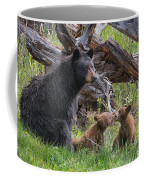 Mama Black Bear With Cinnamon Cubs Coffee Mug