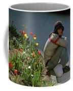 Man Alone Sitting On Curb Coffee Mug