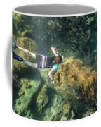 Man Free Diving Coffee Mug