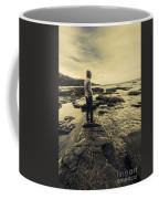Man Gazing Out On Coastal Rocks Coffee Mug