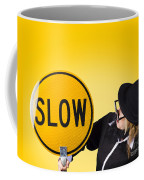 Man Holding Slow Sign During Adverse Conditions Coffee Mug by Jorgo Photography - Wall Art Gallery