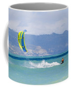 Man Kiteboarding In Turquoise Water Coffee Mug by Mark Cosslett