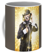Man Listening To Fm Radio Broadcast With Headphone Coffee Mug