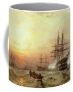 Man-o-war Firing A Salute At Sunset Coffee Mug by Claude T Stanfield Moore
