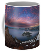 Man On Hilltop Viewing Crater Lake With Full Moon Coffee Mug
