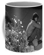 Man Sitting Along Curb  Coffee Mug