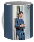 Man Texting Outside Coffee Mug