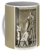 Man Using Sextant On Womans Coiffure Coffee Mug