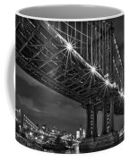 Manhattan Bridge Frames The Brooklyn Bridge Coffee Mug by Susan Candelario