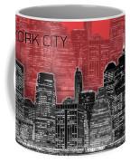 Manhattan Skyline - Graphic Art - Red Coffee Mug