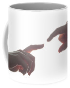 Man's And Woman's Hands, Fingers Reaching Each Other. Love, Connect, Help Concepts. Coffee Mug