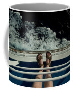 Mans Feet In Sandals Standing Coffee Mug