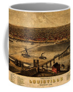 Map Of Louisville Kentucky Vintage Birds Eye View Aerial Schematic On Old Distressed Canvas Coffee Mug