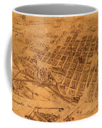 Map Of Minneapolis Minnesota Vintage Birds Eye View Aerial Schematic On Old Distressed Canvas Coffee Mug