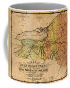 Map Of New York State Showing Original Indian Tribe Iroquois Landmarks And Territories Circa 1720 Coffee Mug