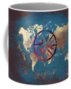 Map Of The World Wind Rose 4 Coffee Mug