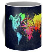 Map Of The World Wind Rose 6 Coffee Mug