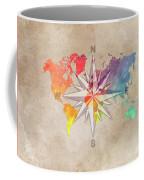 Map Of The World Wind Rose 7 Coffee Mug