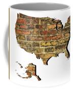 Map Of Usa And Wall. Coffee Mug
