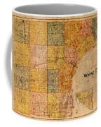 Map Of Wayne County Michigan Detroit Area Vintage Circa 1893 On Worn Distressed Canvas  Coffee Mug