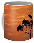 Maribou Stork On Tree With Orange Sunrise Sky Coffee Mug