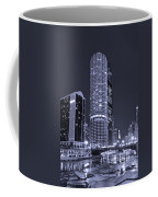 Marina City On The Chicago River In B And W Coffee Mug