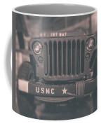 Marine Corps Jeep In Black And White Coffee Mug