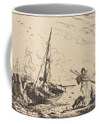 Marine: Fishing Boats On Shore, Man With Oars, Ship In Distance Coffee Mug