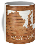 Maryland Rustic Map On Wood Coffee Mug