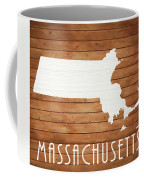 Massachusetts Rustic Map On Wood Coffee Mug