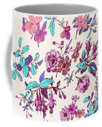 Meadow Flower And Leaf Wreath Isolated On Pink, Circle Doodle Fl Coffee Mug