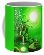 Meditating While Cherry Blossoms Fall In Green Coffee Mug