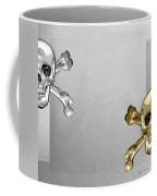 Memento Mori - Gold And Silver Human Skulls And Bones On White Canvas Coffee Mug