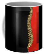 Memento Mori - Gold Human Backbone Over Black And Red Canvas Coffee Mug