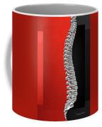 Memento Mori - Silver Human Backbone Over Red And Black Canvas Coffee Mug