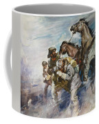 Men And Horses Battling A Storm Coffee Mug by James Edwin McConnell