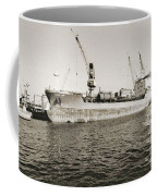 Merchant Ship Docked At Barcelona's Harbour Coffee Mug