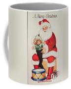 Merry Christmas Santa Pulls Doll From His Sack Vintage Card Coffee Mug