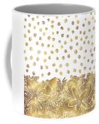 Metallic Gold Floral Flower Swirls Trendy Unique Art By Madart Coffee Mug