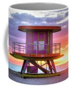 Miami Beach Round Life Guard House Sunrise Coffee Mug