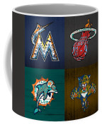 Miami Sports Fan Recycled Vintage Florida License Plate Art Marlins Heat Dolphins Panthers Coffee Mug