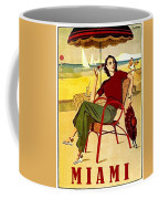 Miami, Woman On The Beach Under Sunshade Coffee Mug
