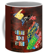 Michigan License Plate Map Coffee Mug by Design Turnpike