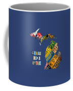 Michigan License Plate Map Great Lake State With Vintage Blue Plate Background Edition Coffee Mug