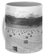 Mid June Colorado Hay  And The Twin Peaks Longs And Meeker Bw Coffee Mug