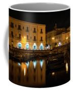 Midnight Silence And Solitude - Syracuse Sicily Illuminated Waterfront Coffee Mug